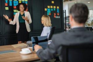Public Speaking Resources - Woman speaking in meeting